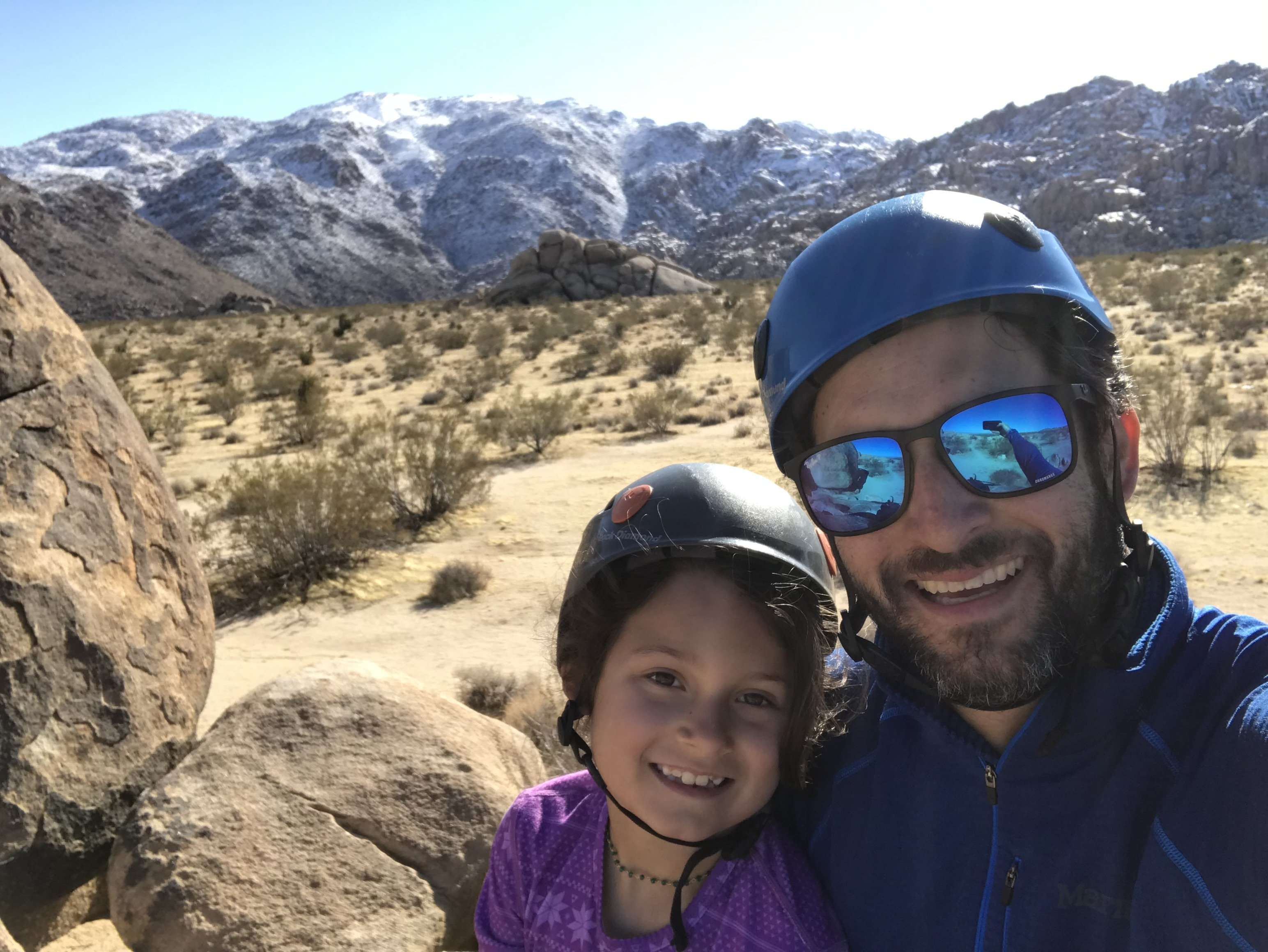 NEBC Mmeber Benjamin Pariser and his daughter at Joshua Tree